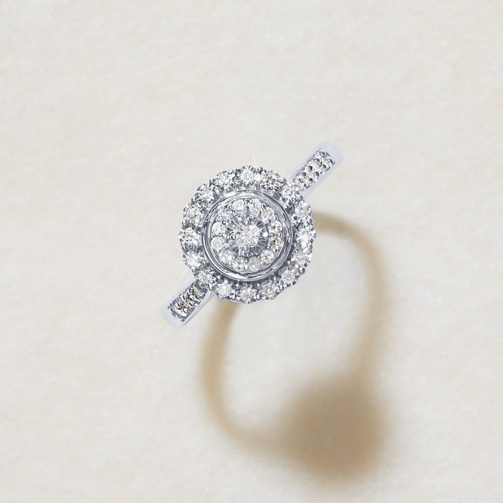 Miracle Double Halo Ring with 1/5ct of Diamonds in 9ct White Gold Rings Bevilles