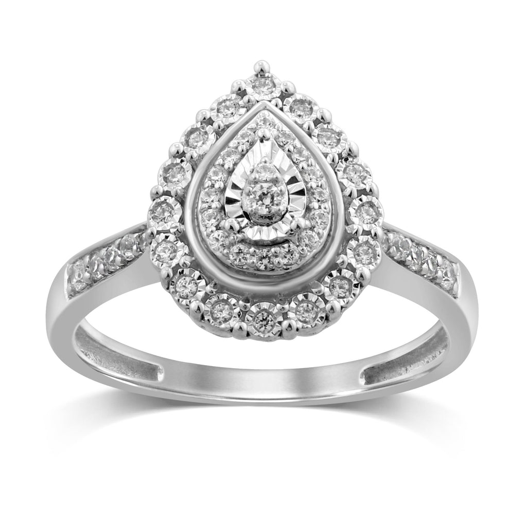Double Pear Halo Ring with 1/5ct of Diamonds in 9ct White Gold Rings Bevilles