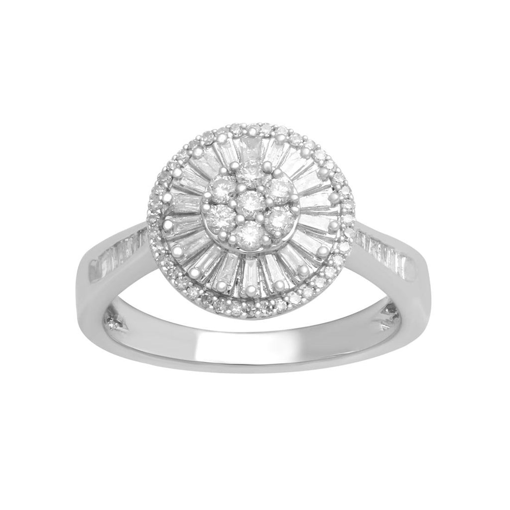 Brilliant Baguette Ring with 1/2ct of Diamonds in 9ct White Gold