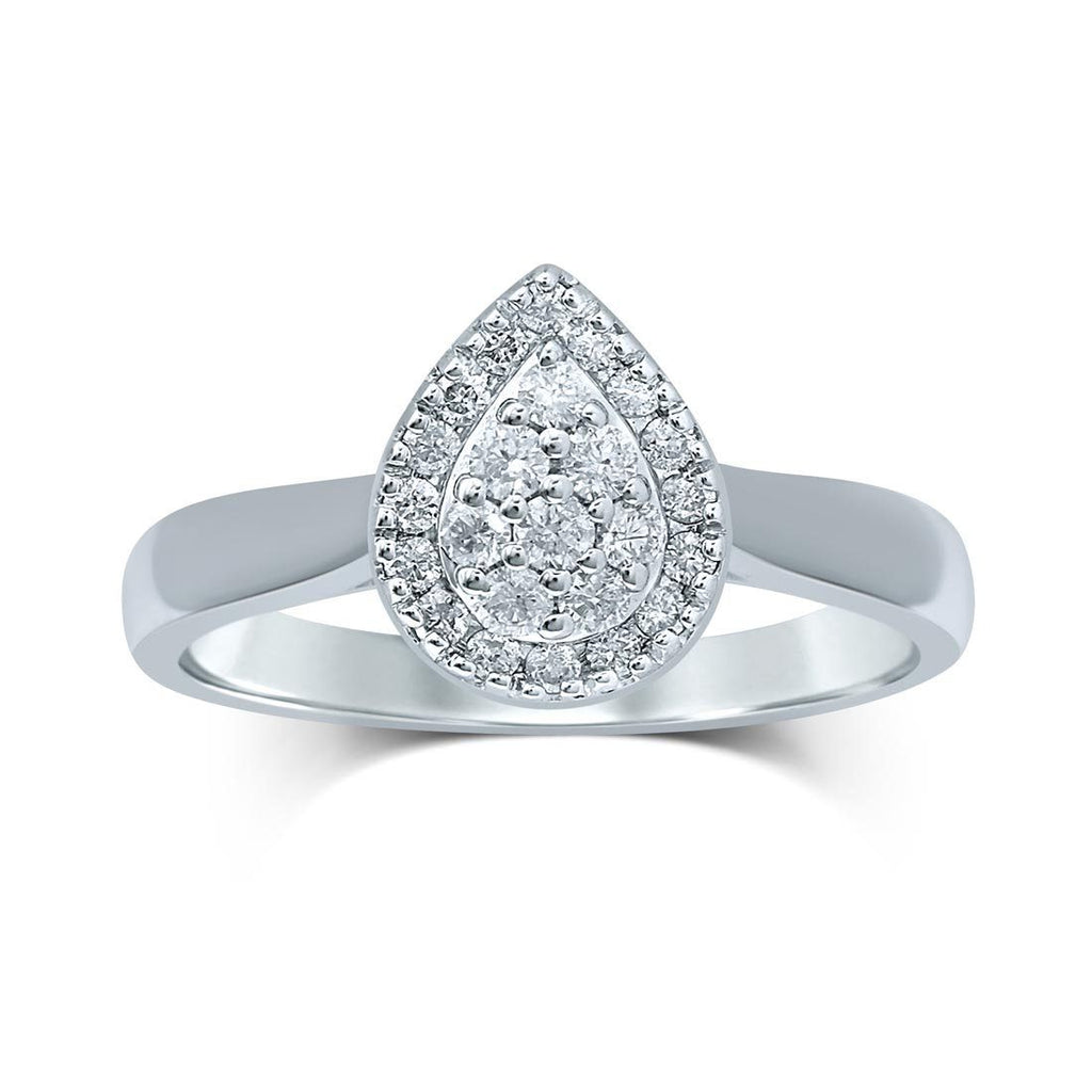 Brilliant Composite Halo Pear Ring with 1/2ct of Diamonds in 9ct White Gold Rings Bevilles