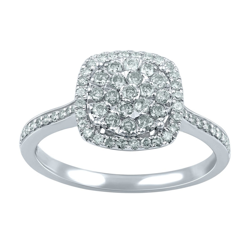 9ct White Gold 0.50ct Diamond Square Halo Ring