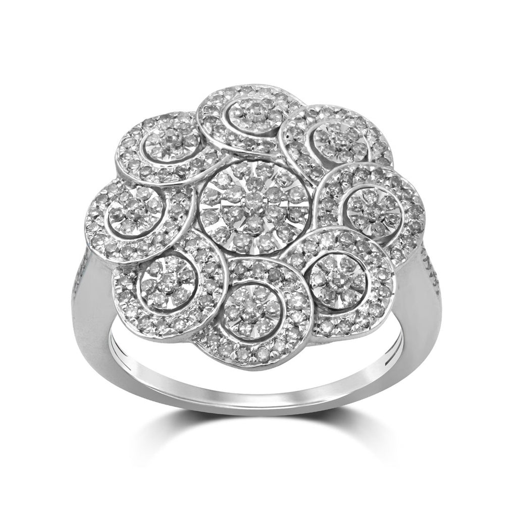 9ct White Gold 0.55ct Diamond Fancy Flower Ring Rings Bevilles