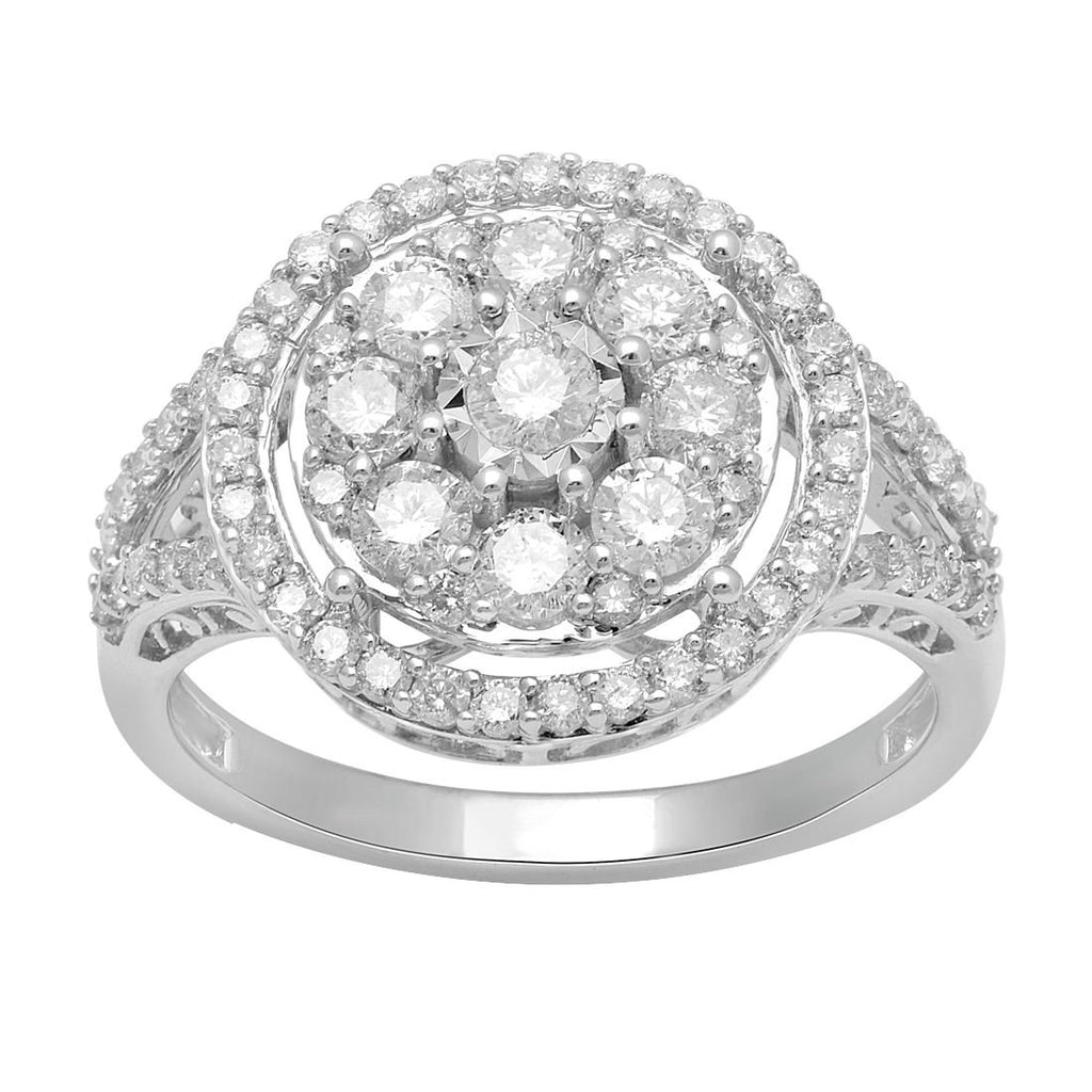 Brilliant Illusion Halo Ring with 1/2ct of Diamonds in 9ct White Gold Rings Bevilles