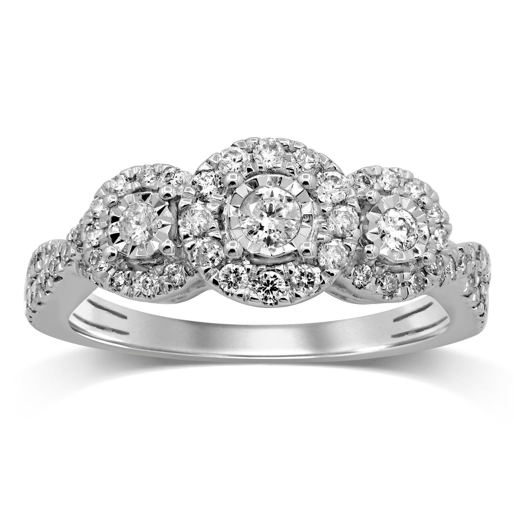 Brilliant Miracle Halo Ring with 1/2ct of Diamonds in 9ct White Gold
