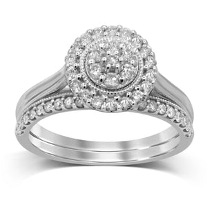Two Ring Set with 1/2ct of Diamonds in 9ct White Gold