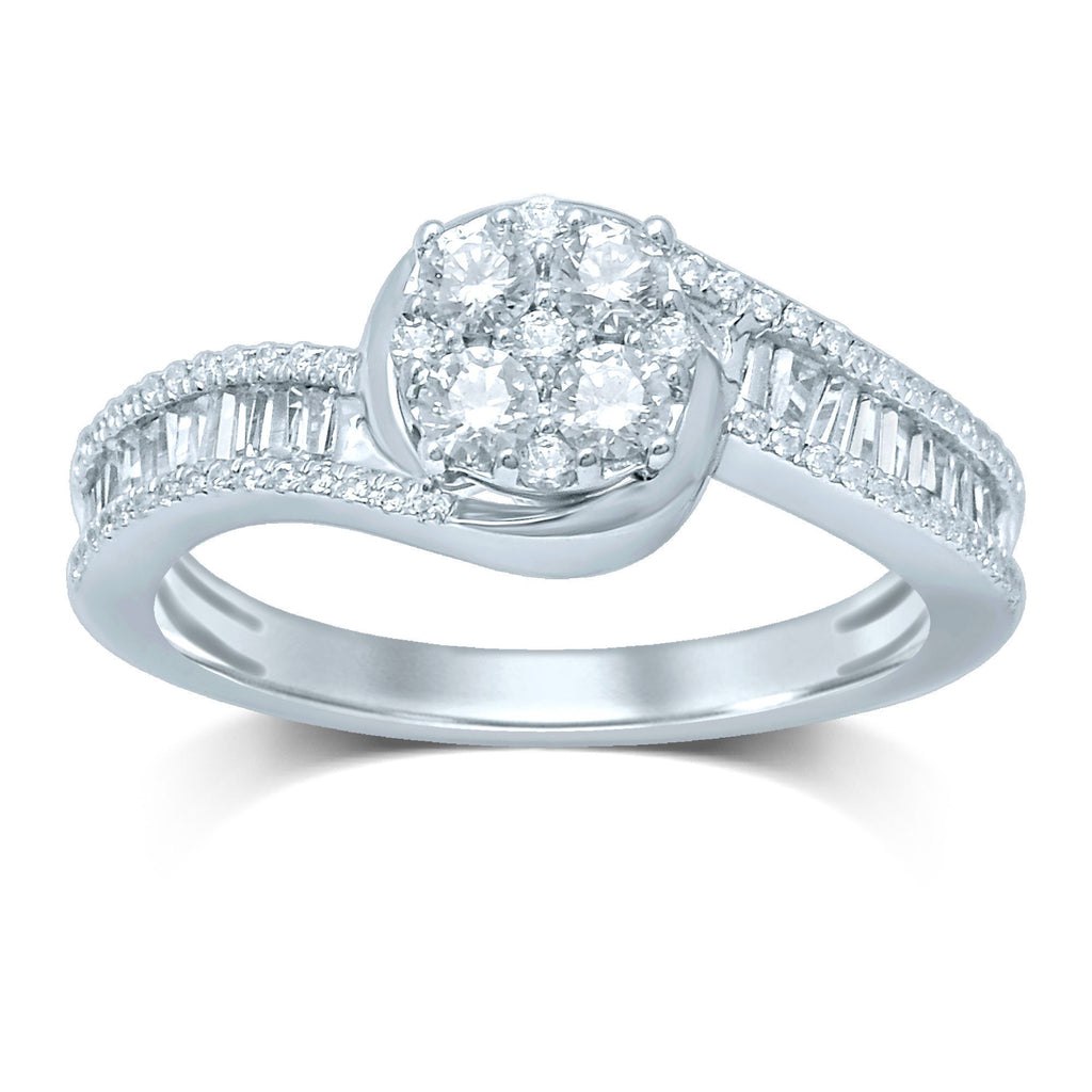 9ct White Gold Ring with 0.75ct of Diamonds Rings Bevilles