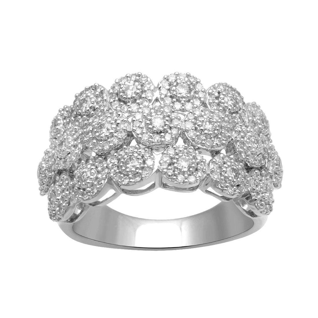 9ct White Gold 1.00ct of Diamond 3 Row Dress Ring