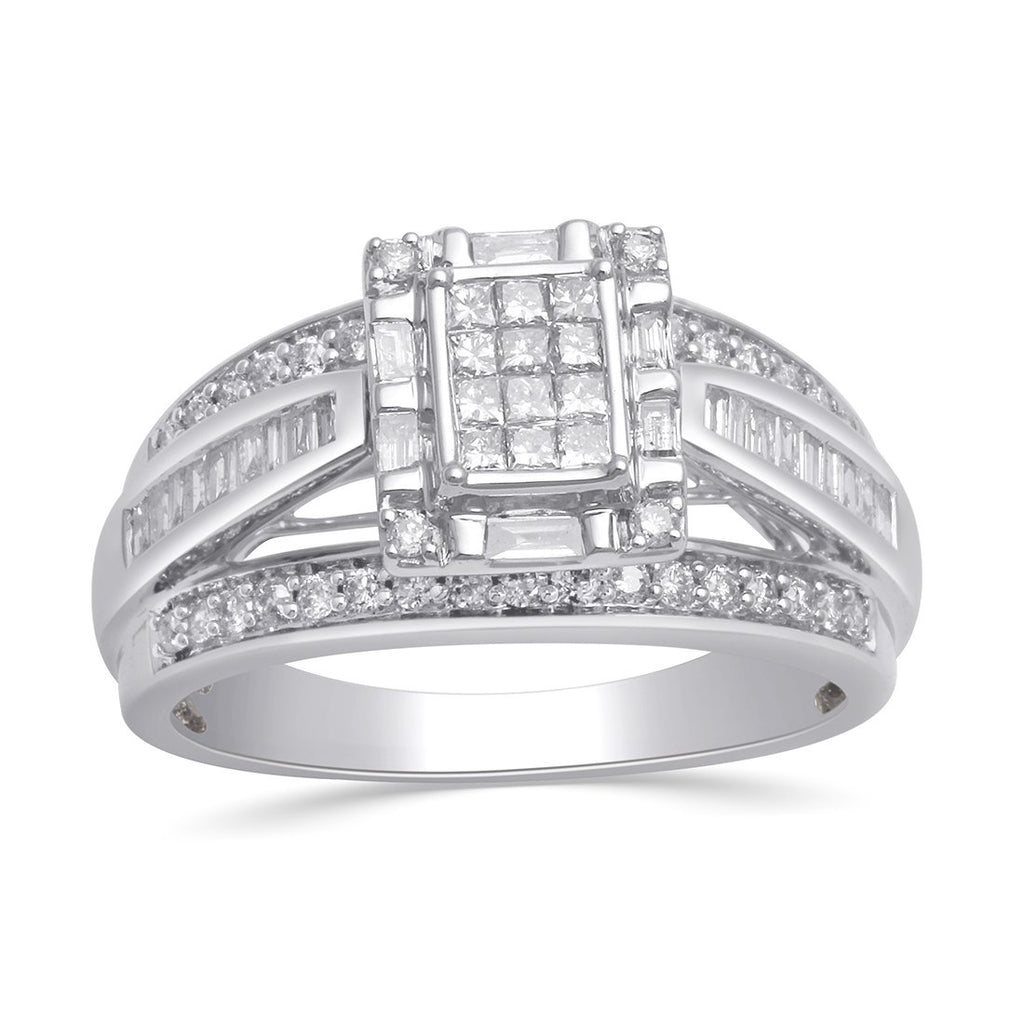 9ct White Gold Invisible Princess Ring with 0.75ct of Diamonds Rings Bevilles
