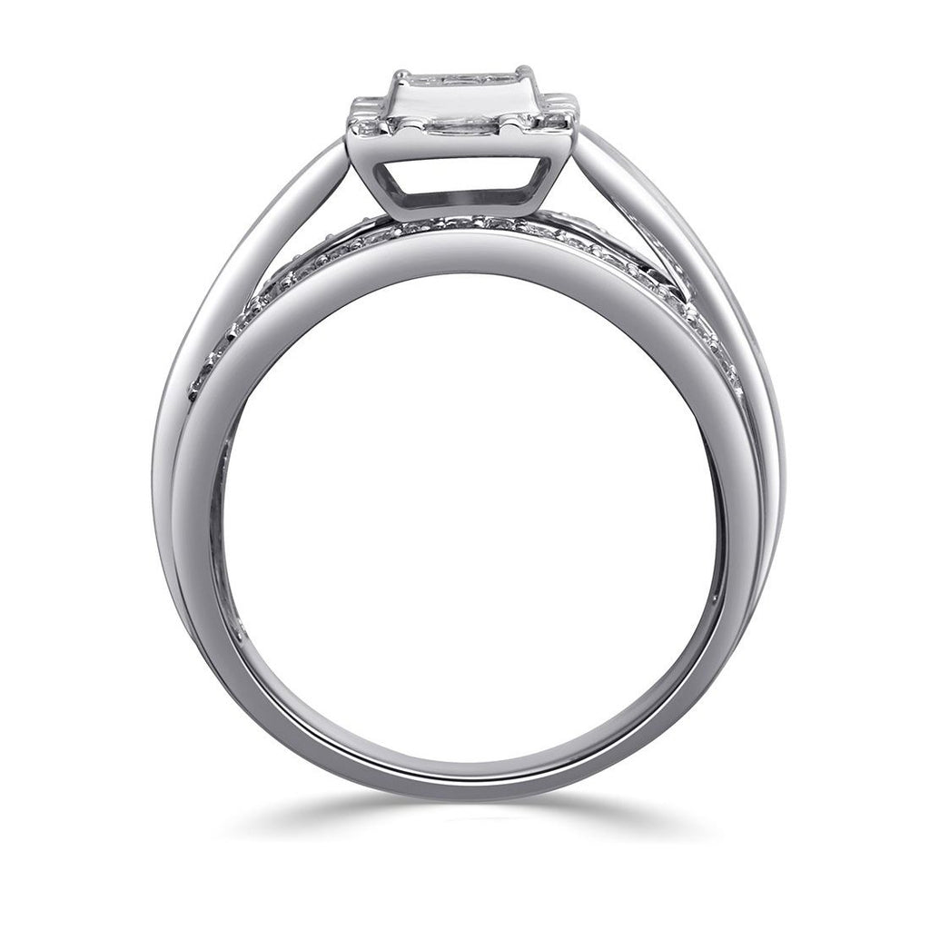 9ct White Gold Invisible Princess Ring with 0.75ct of Diamonds