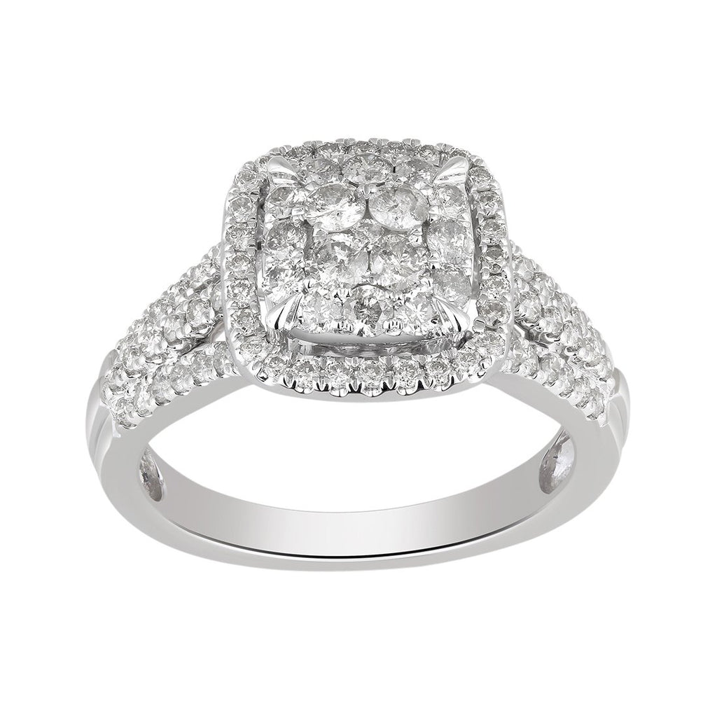 9ct White Gold 1.00ct Diamond Square Look Composite Ring Rings Bevilles