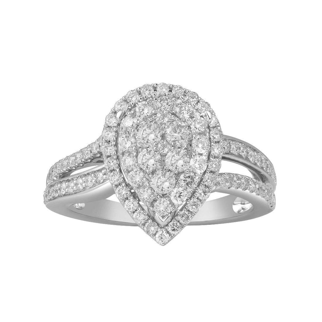 9ct White Gold 1.00ct Diamond Pear Ring