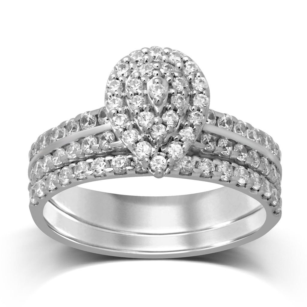 Brilliant Halo Pear Ring Set with 1.00ct of Diamonds in 9ct White Gold
