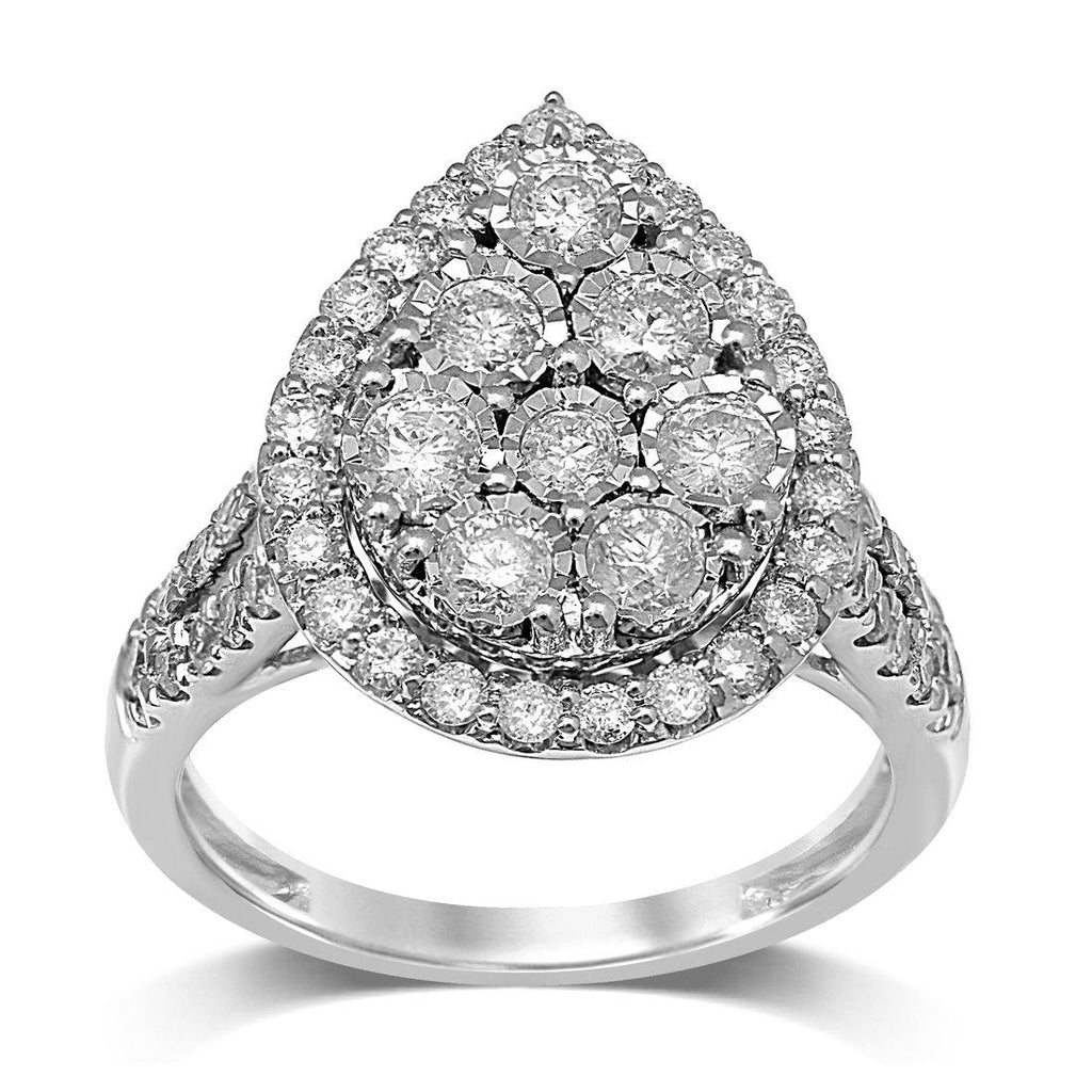 Pear Halo Ring with 1.50ct of Diamonds in 9ct White Gold Rings Bevilles