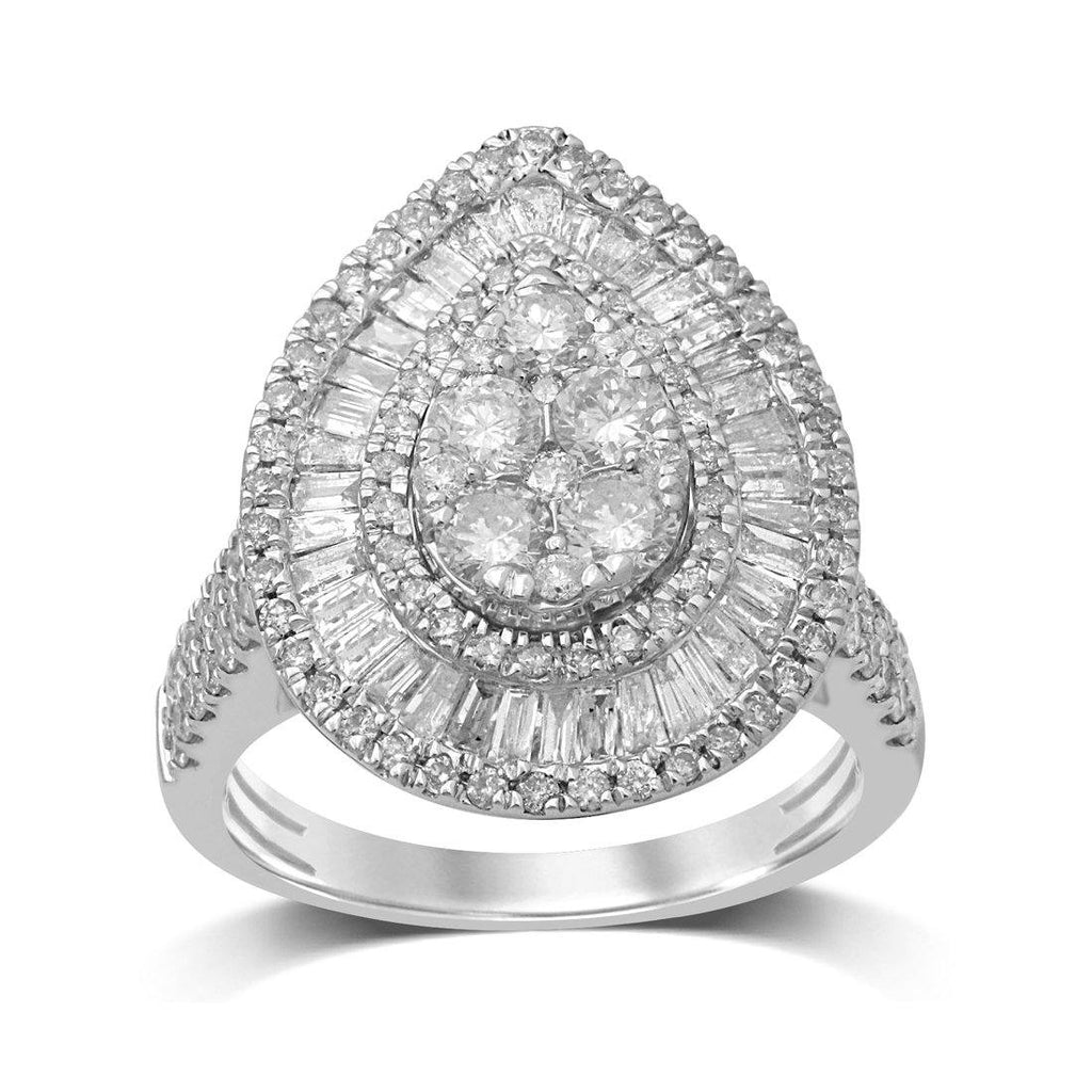 9ct White Gold 2.00ct Diamond Pear Cluster Ring