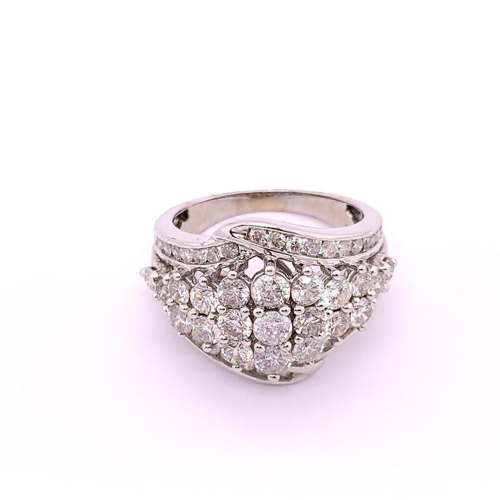 Channel Edge Dress Ring with 3.00ct of Diamonds in 10ct White Gold Rings Bevilles