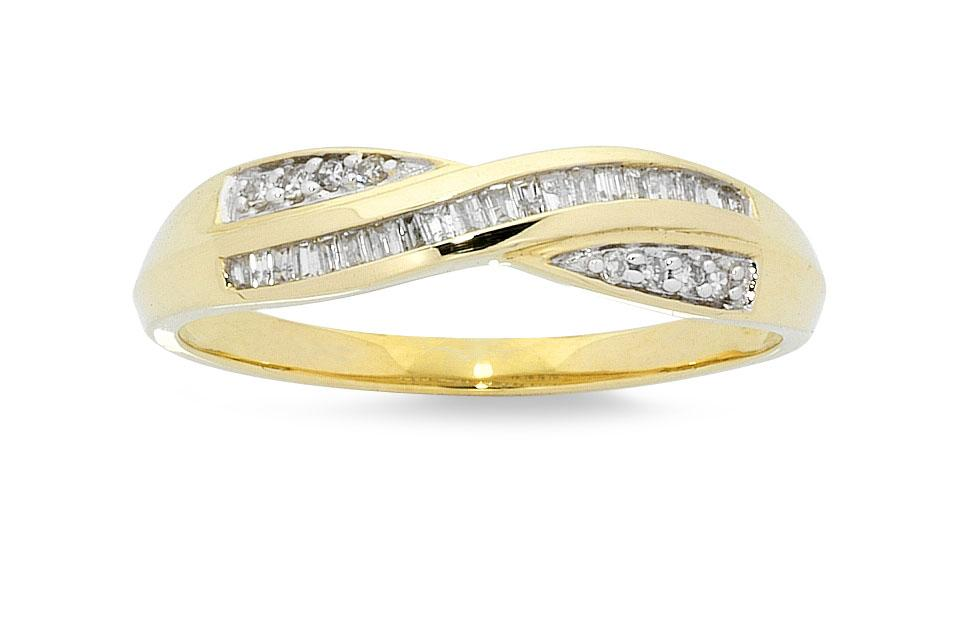 Crossover Ring with 0.15ct of Diamonds in 9ct Yellow Gold