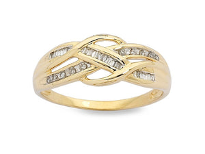 Swirl Crossover Ring with 0.15ct of Diamonds in 9ct Yellow Gold