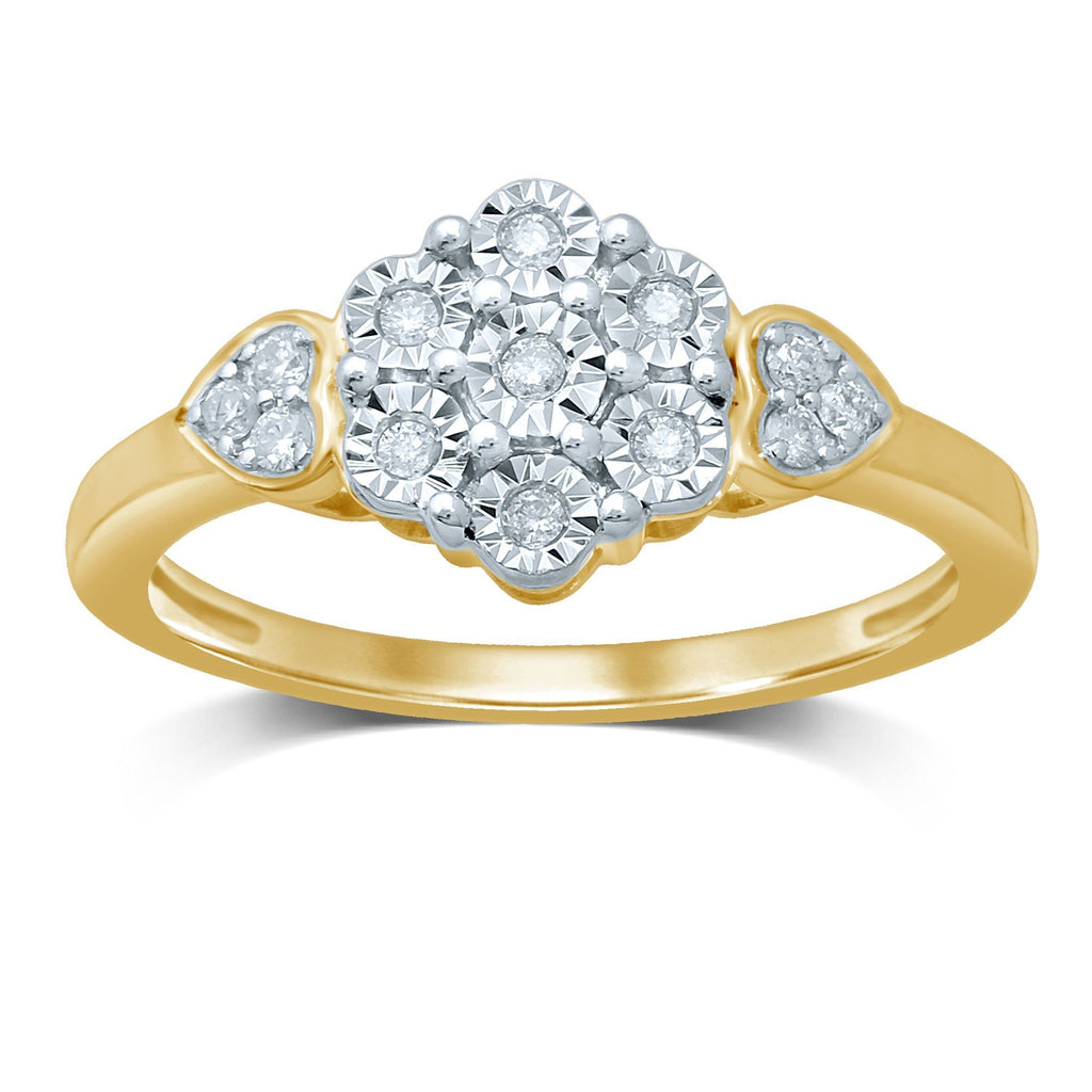 9ct Yellow Gold Ring with 0.12ct of Diamonds Rings Bevilles