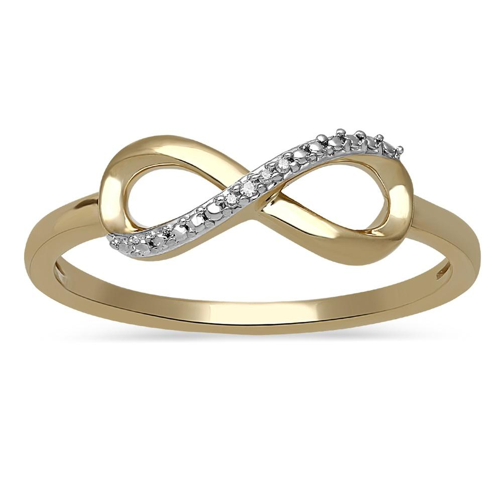 Diamond Set Infinity Ring in 10ct Yellow Gold Rings Bevilles
