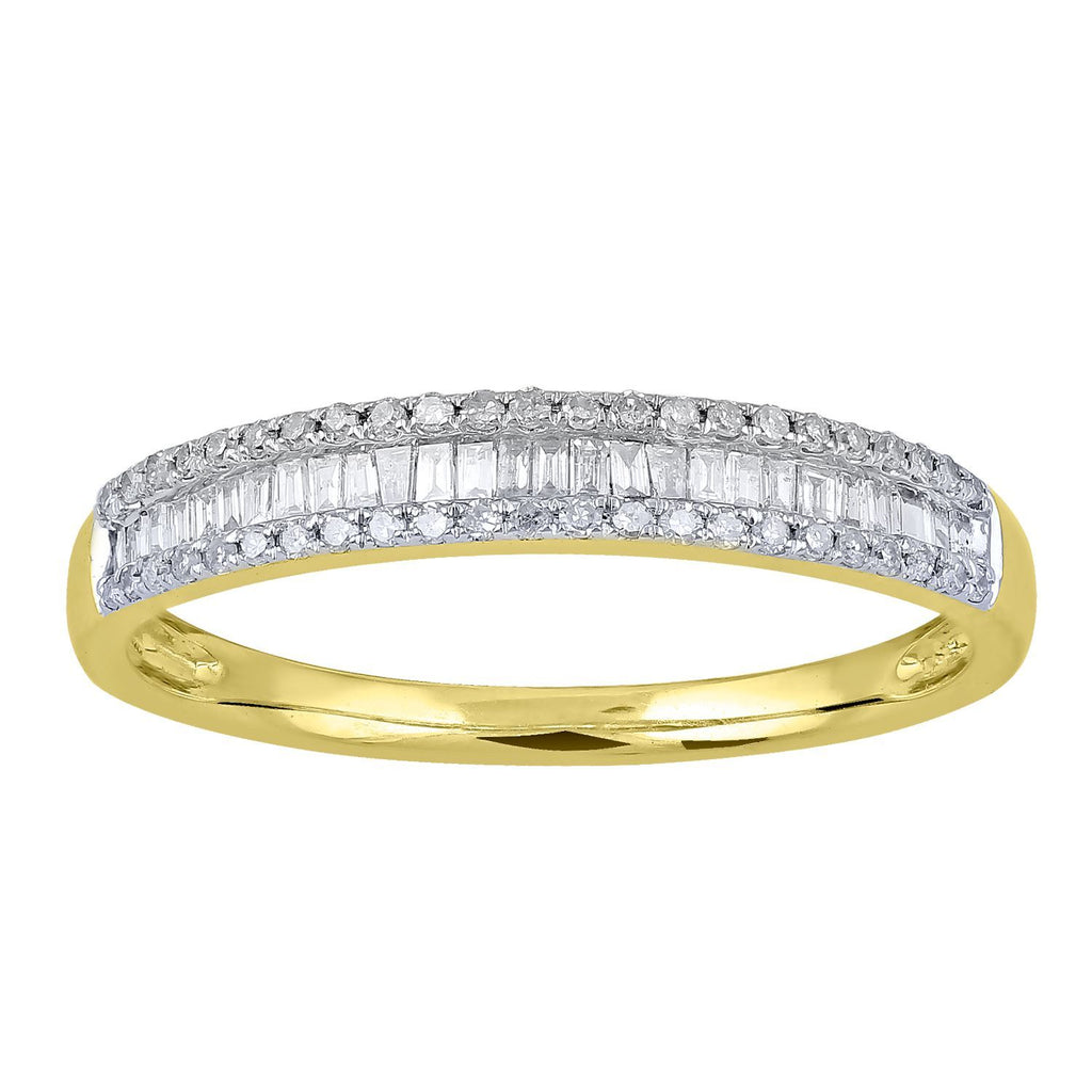 Baguette Channel Ring with 1/4ct of Diamonds in 9ct Yellow Gold Rings Bevilles