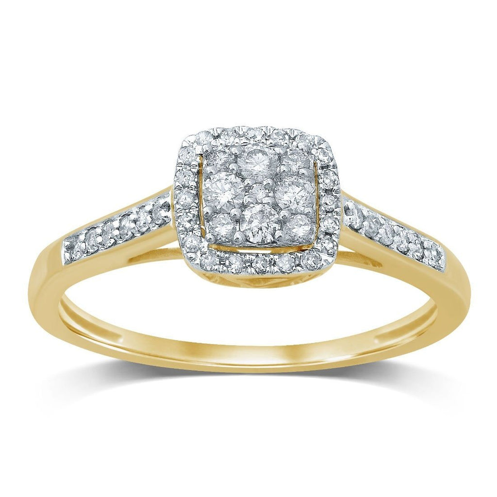 9ct Yellow Gold Square Shape Halo Ring with 0.25ct of Diamonds