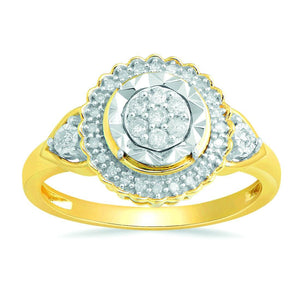 Brilliant Illusion Miracle plate ring with 1/5ct of Diamonds in 9ct Yellow Gold