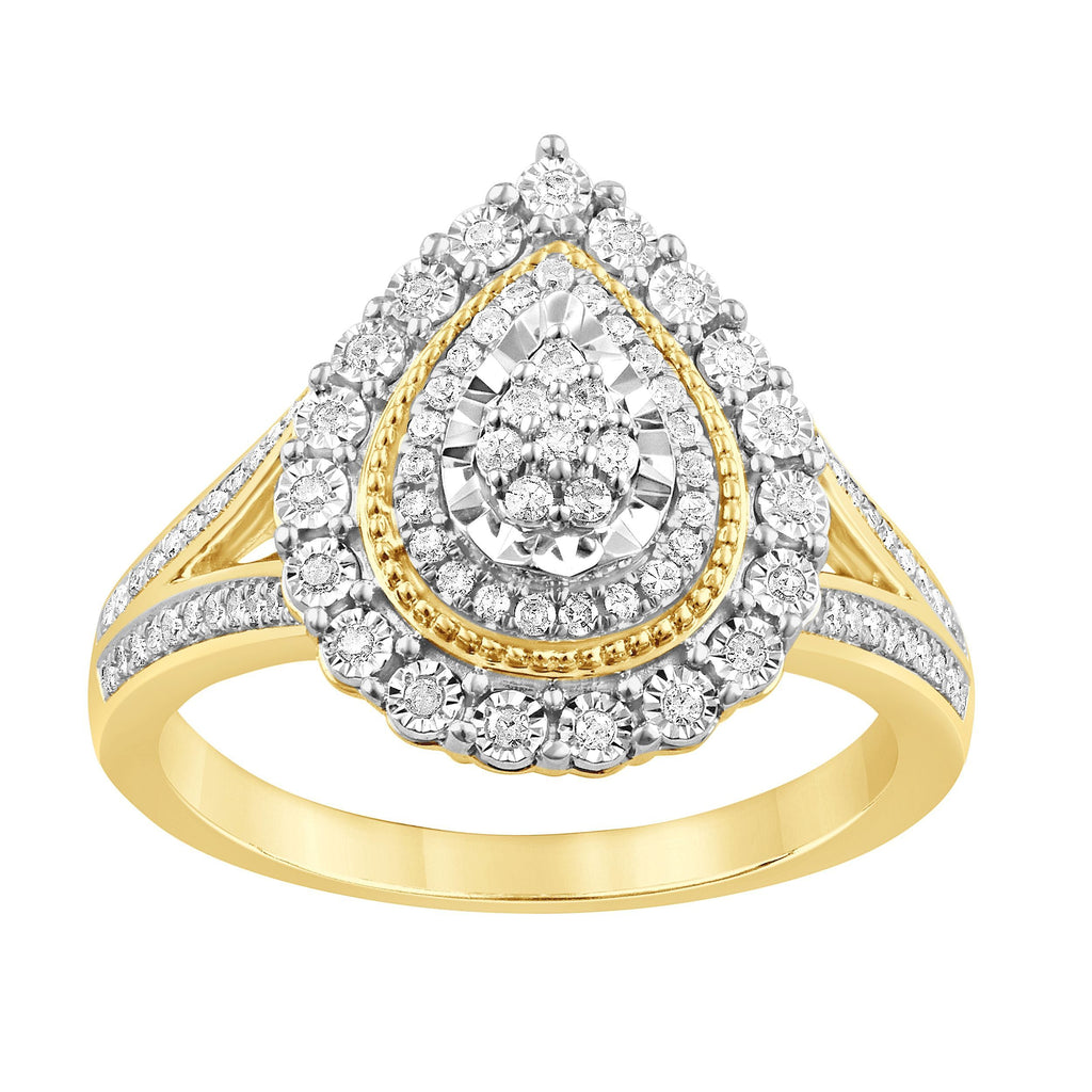 Brilliant Miracle Double Halo Pear Ring with 0.30ct of Diamonds in 9ct Yellow Gold Rings Bevilles