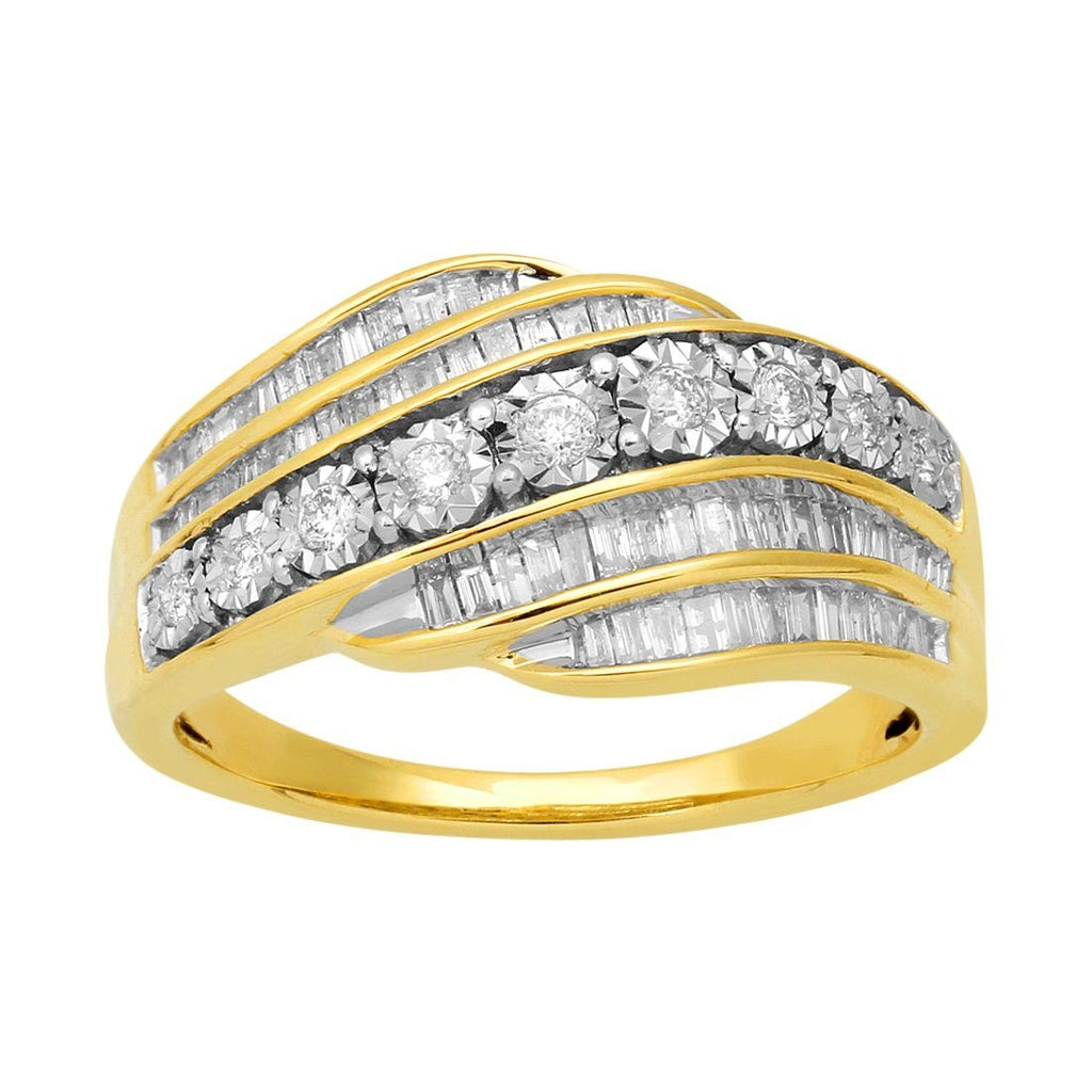 9ct Yellow Gold 0.50ct Diamond Swirl Ring Rings Bevilles