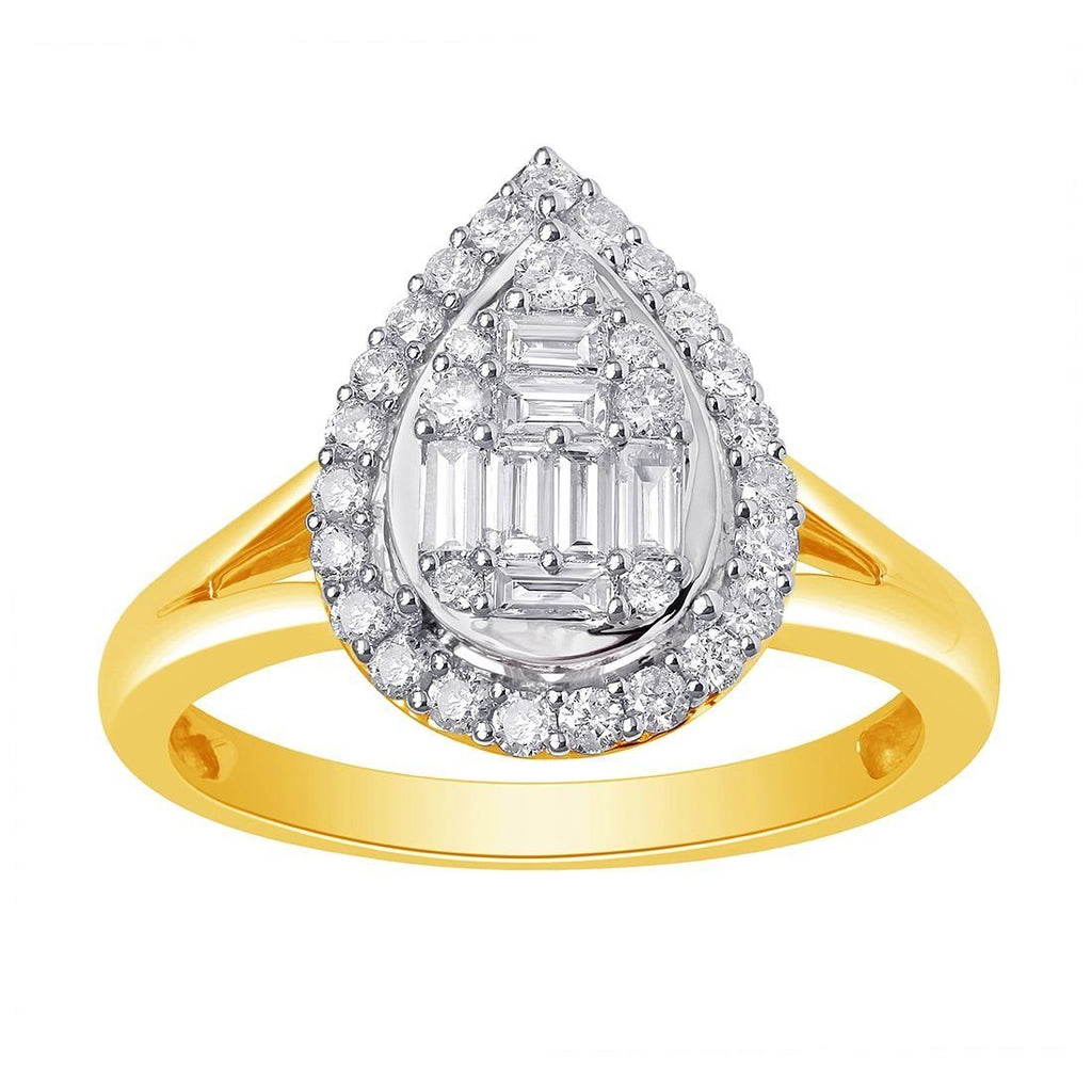 9ct Yellow Gold Pear Shape Cluster Ring with 0.50ct of Diamonds