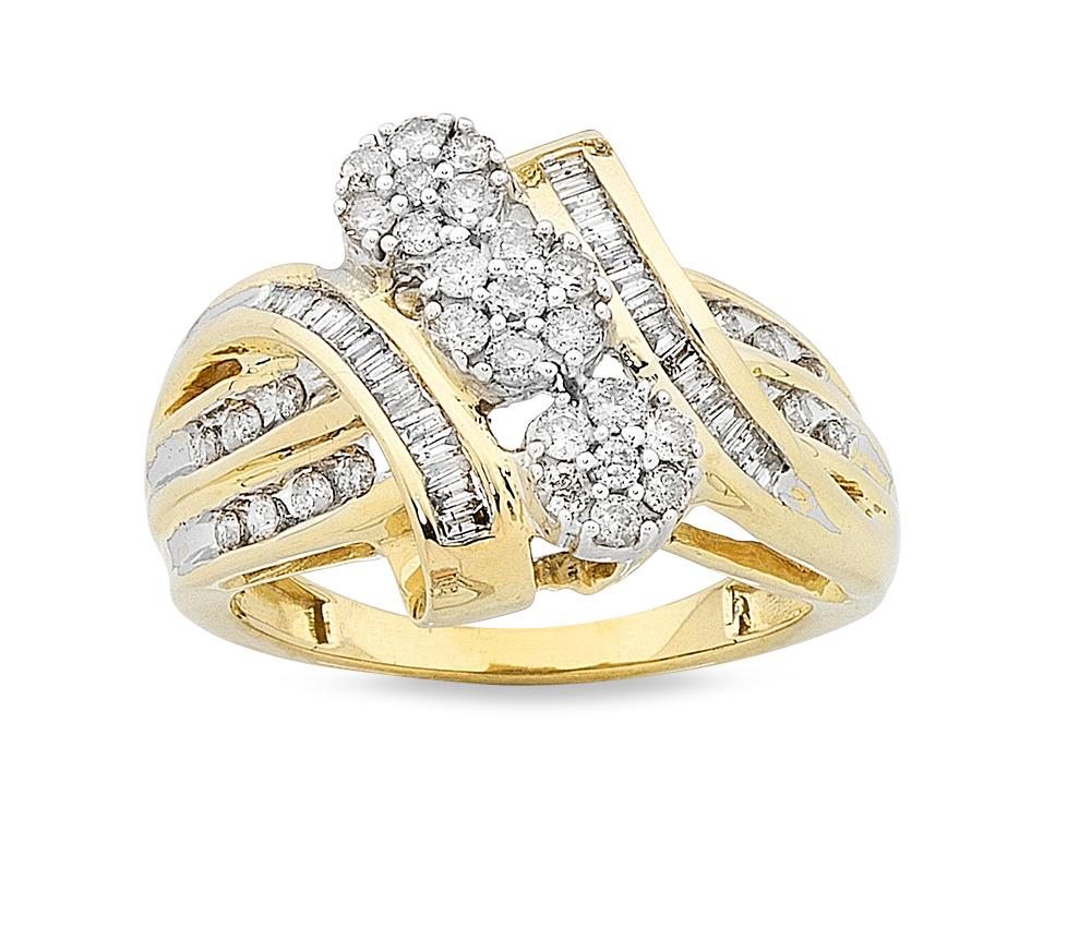 9ct Yellow Gold 0.75ct 3 Flowers Diamond Ring Rings Bevilles