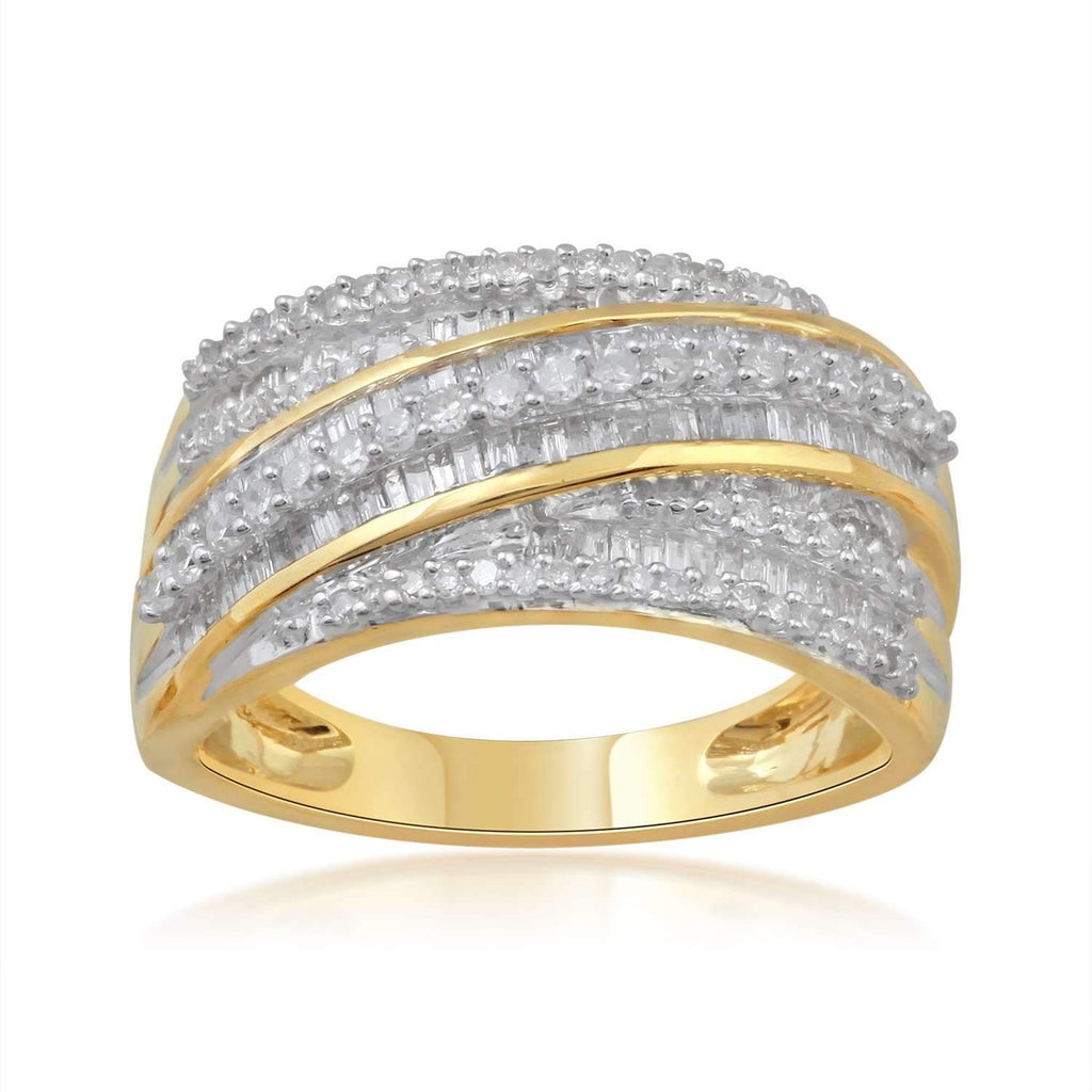 9ct Yellow Gold Ring with 0.75ct of Diamonds Rings Bevilles