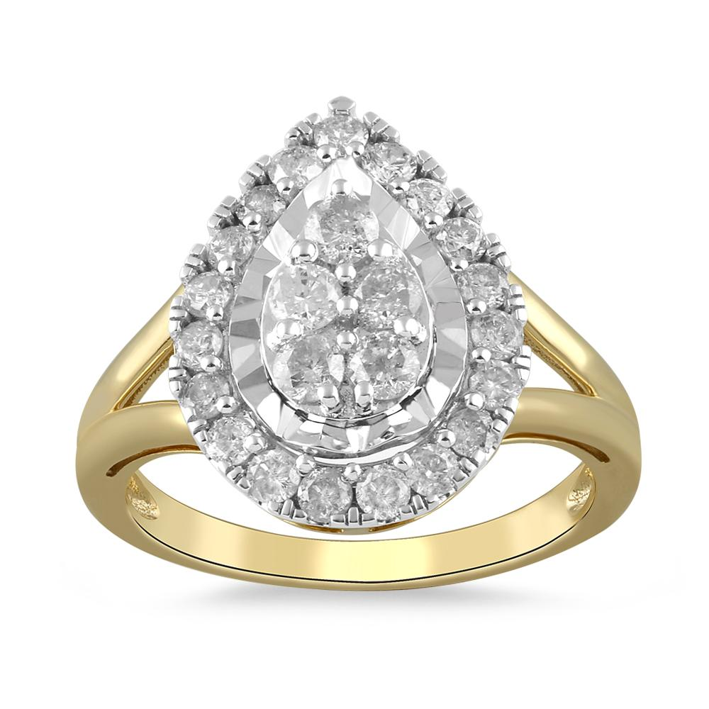 Brilliant Miracle Pear Halo Ring with 1.00ct of Diamonds in 9ct Yellow Gold Rings Bevilles
