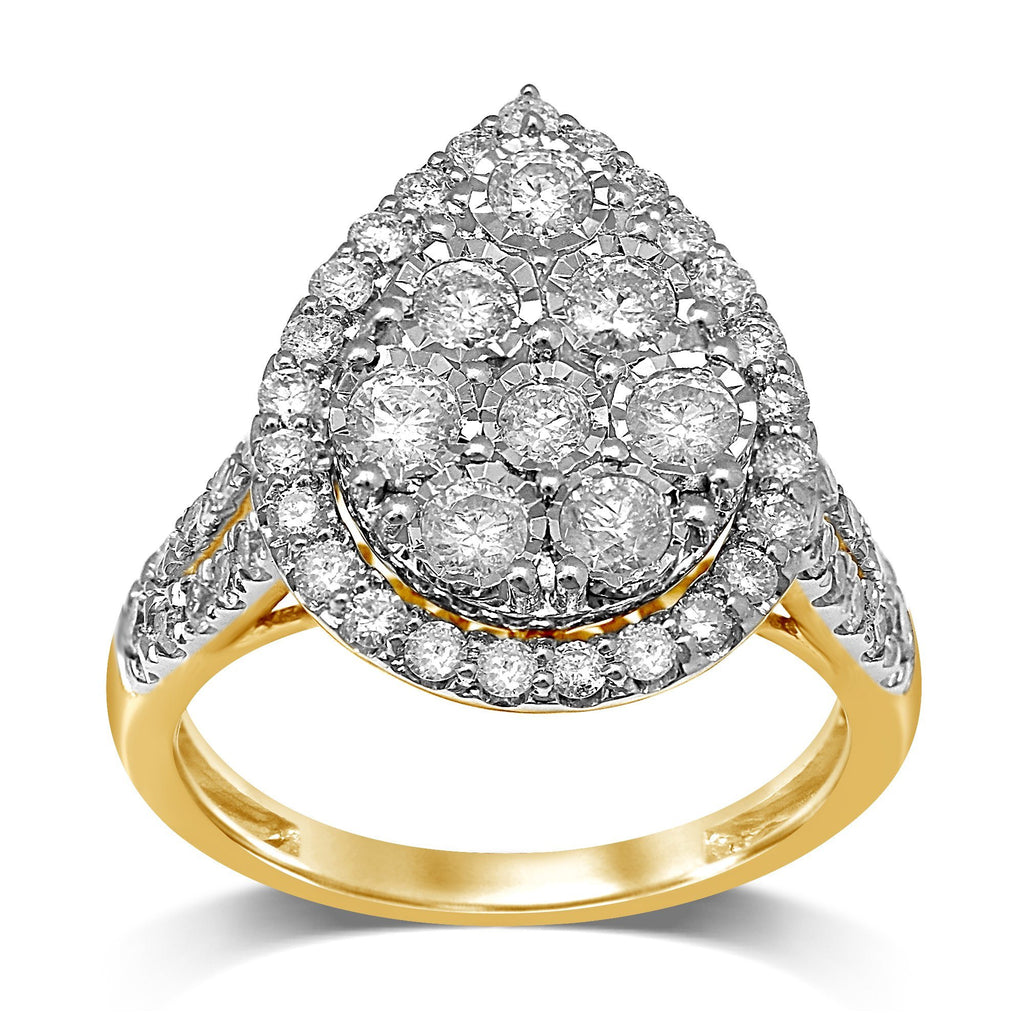 Miracle Pear Halo Ring with 1.50ct of Diamonds in 9ct Yellow Gold Rings Bevilles