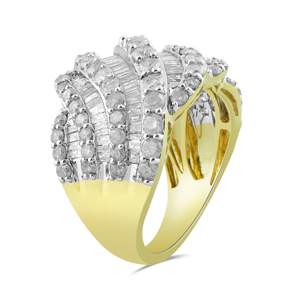 9ct Yellow Gold 3.00ct Diamond Dress Ring Rings Bevilles