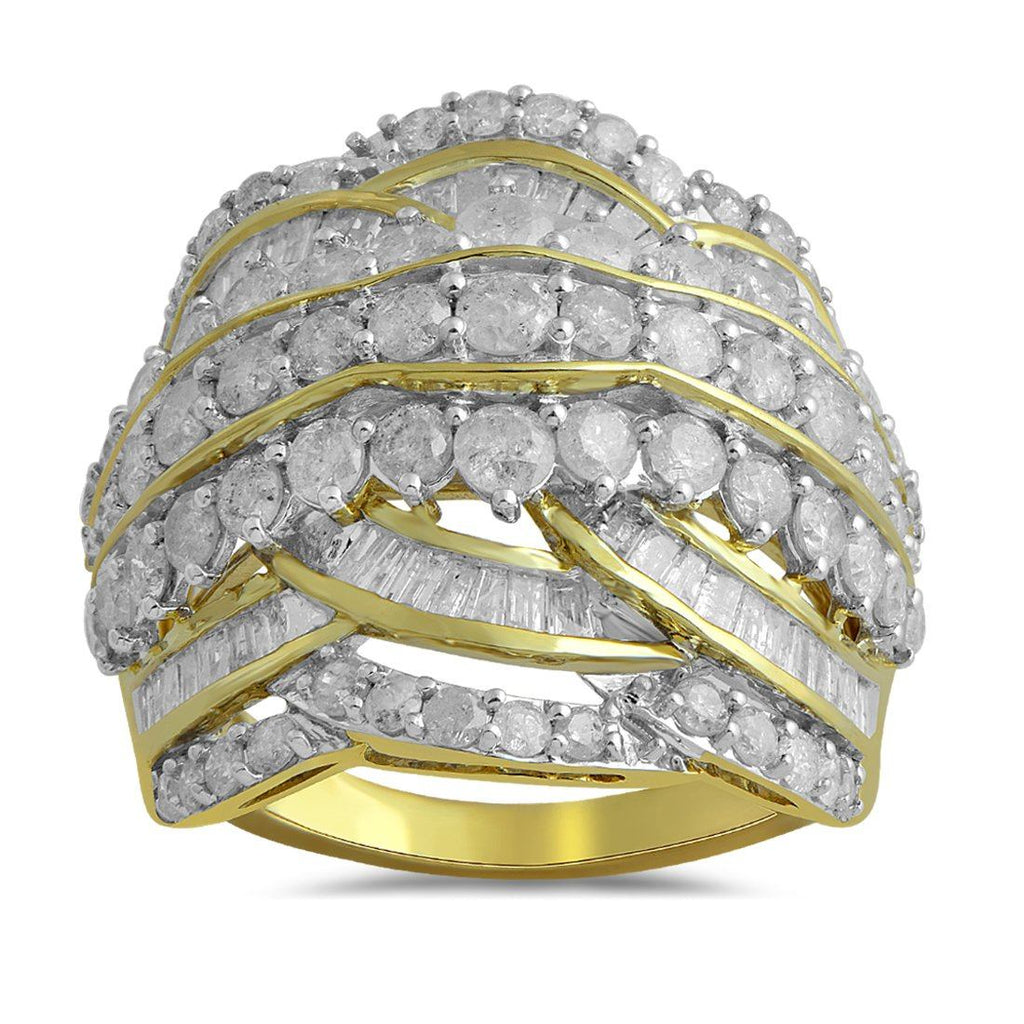 Brilliant Baguette Channel Ring with 3.00ct of Diamonds in 9ct Yellow Gold Rings Bevilles