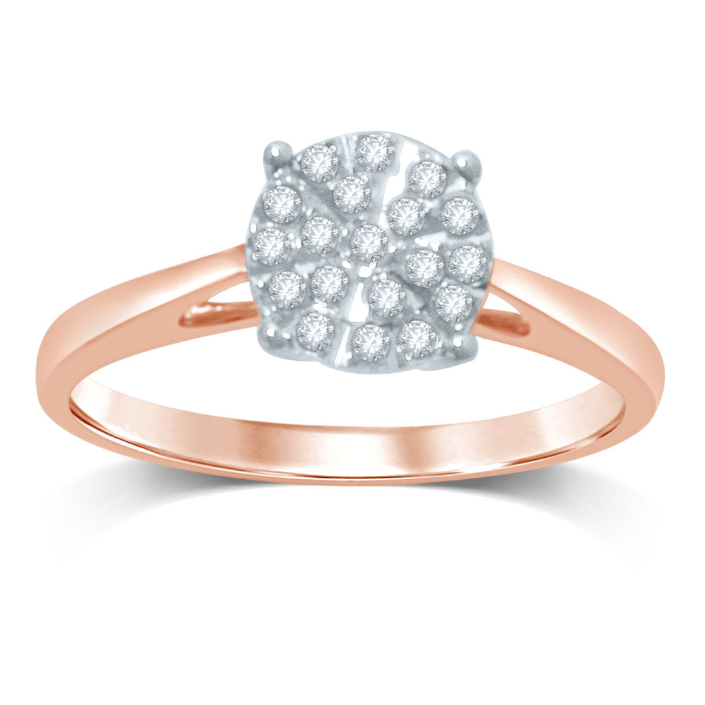 Martina Brilliant Illusion Ring with 1/4ct of Diamonds in 9ct Rose Gold
