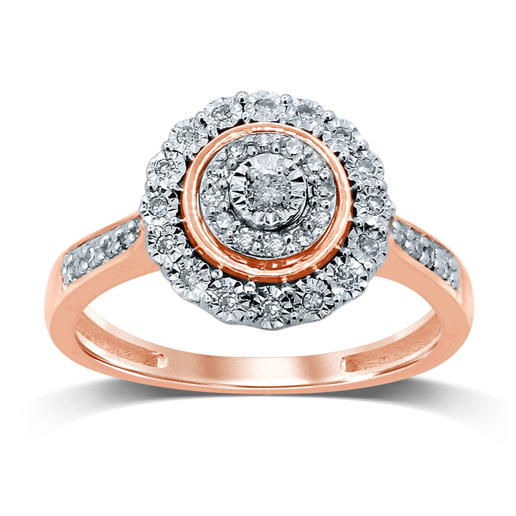 Miracle Halo Ring with 1/5ct of Diamonds in 9ct Rose Gold Rings Bevilles
