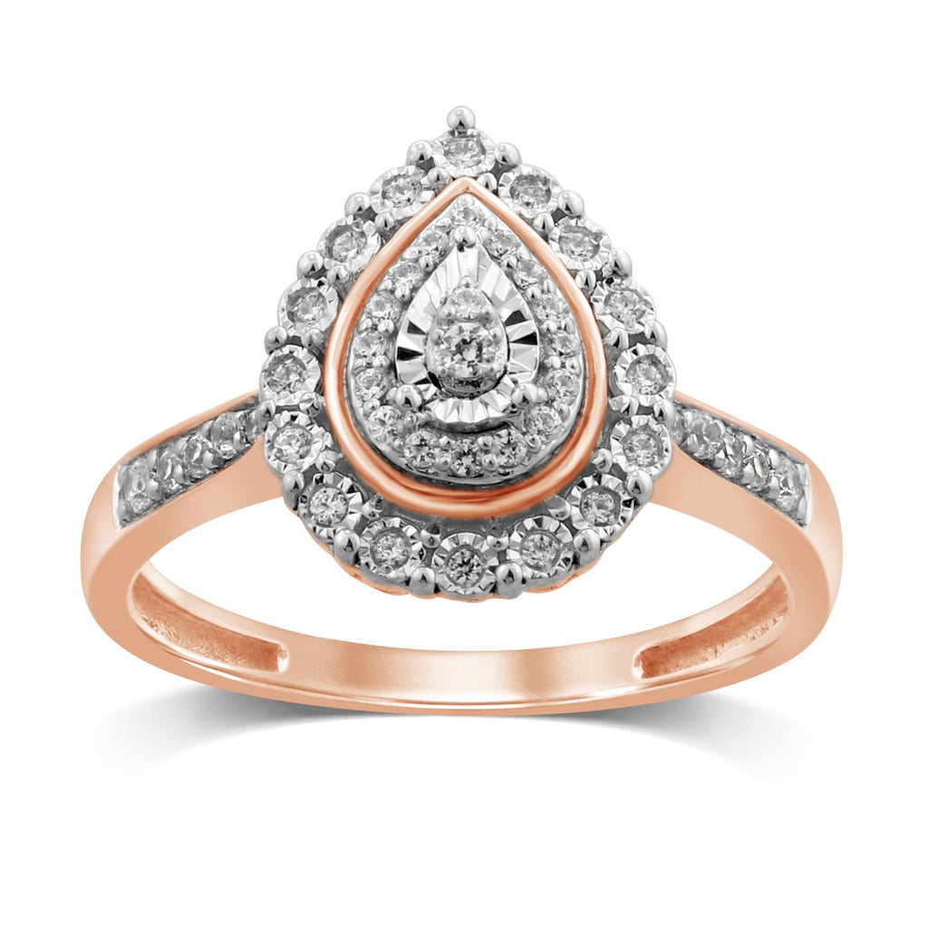 Double Pear Halo Ring with 1/5ct of Diamonds in 9ct Rose Gold Rings Bevilles