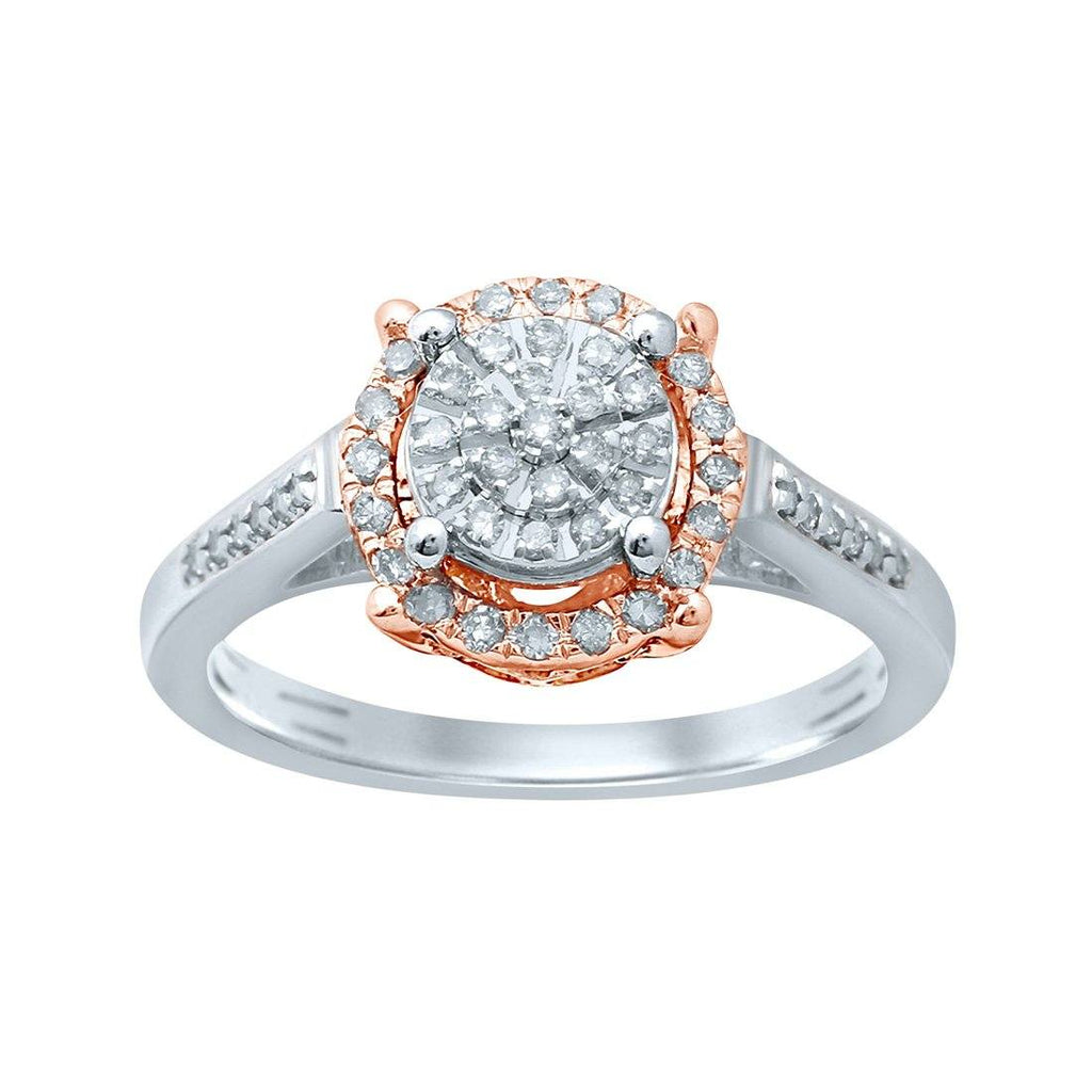 Martina Solitaire Look Halo Ring with 1/4ct of Diamonds in 9ct White & Rose Gold