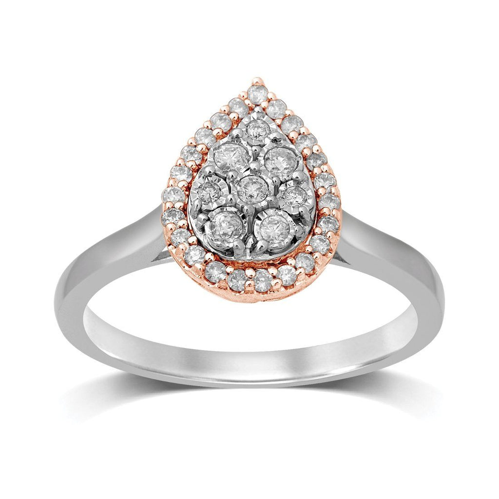 9ct White & Rose Gold 0.25ct Diamond Pear Miracle Set Halo Ring Rings Bevilles