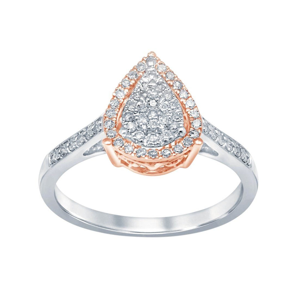 Pear Ring with 1/4ct of Diamonds in 9ct White and Rose Gold