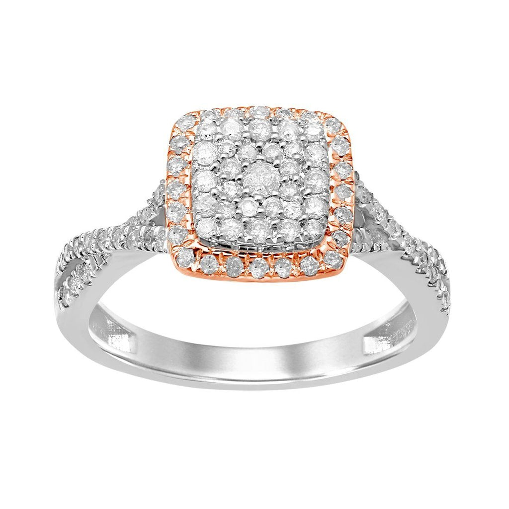 Brilliant Square Set Ring with 1/2ct of Diamonds in 9ct White and Rose Gold Rings Bevilles