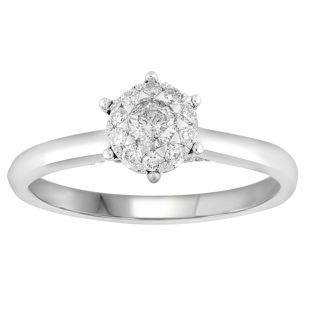 Brilliant Star Ring with 1/5ct of Diamonds in 18ct White Gold