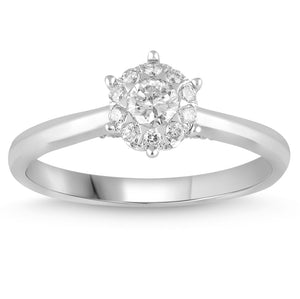 Brilliant Star Ring with 0.30ct of Diamonds in 18ct White Gold