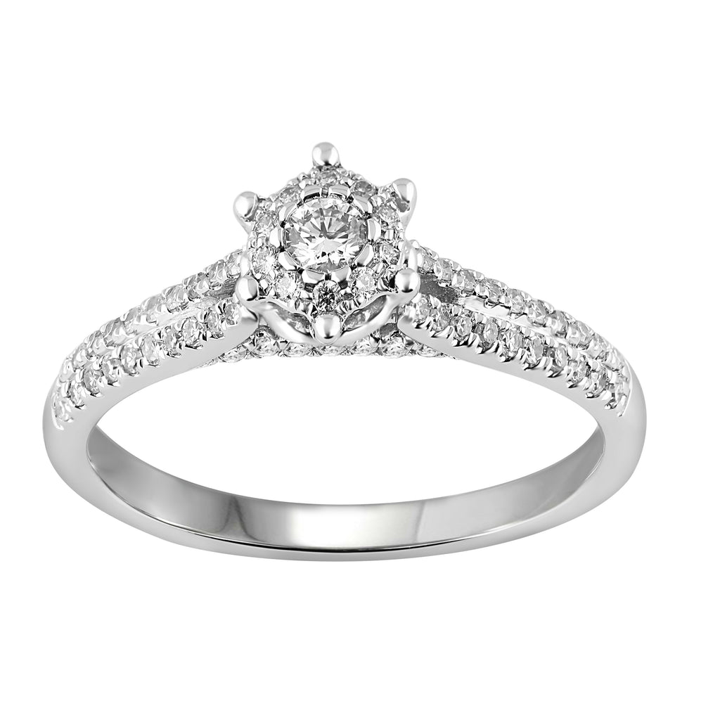 Brilliant Star Ring with 0.45ct of Diamonds in 18ct White Gold