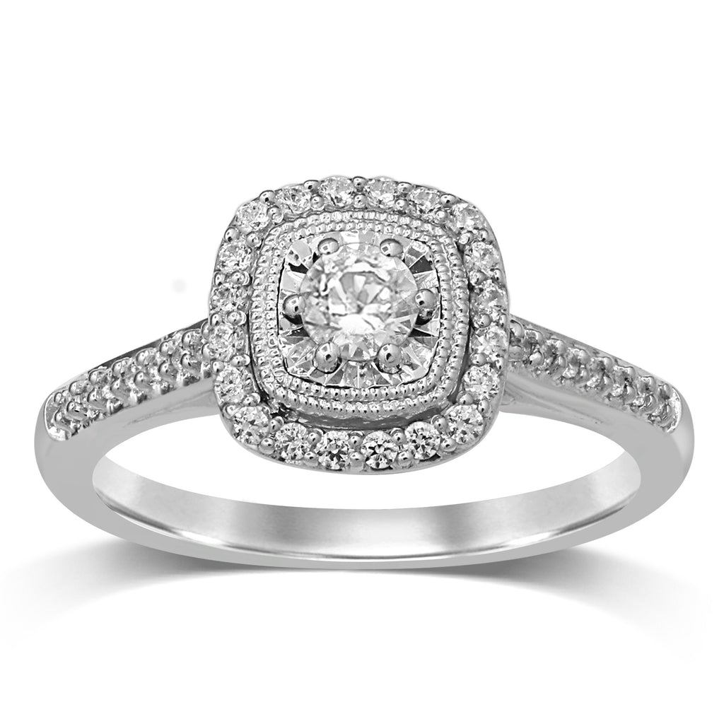 Solitaire Halo Square Look Ring with 1/2ct of Diamonds in 18ct White Gold