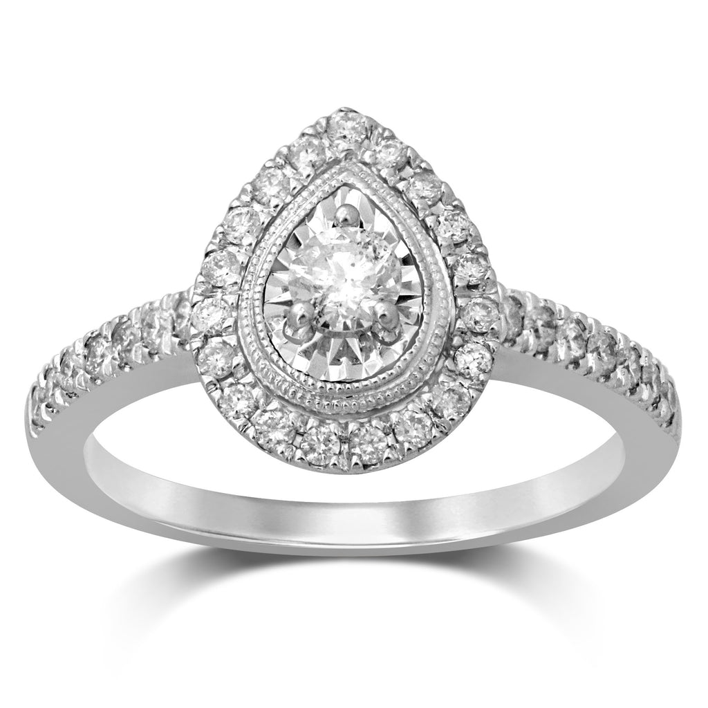 Pear Halo Solitaire Ring with 1/2ct of Diamonds in 18ct White Gold Rings Bevilles