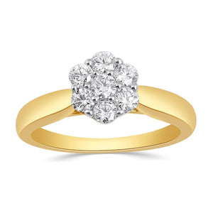 Brilliant Flower Solitaire Ring with 1/2ct of Diamonds in 18ct Yellow Gold