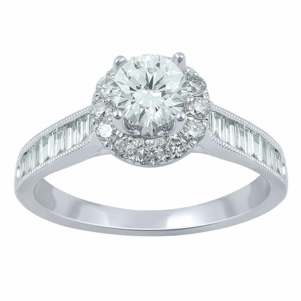 Solitaire Halo Ring with 0.90ct of Diamonds in 18ct White Gold Rings Bevilles