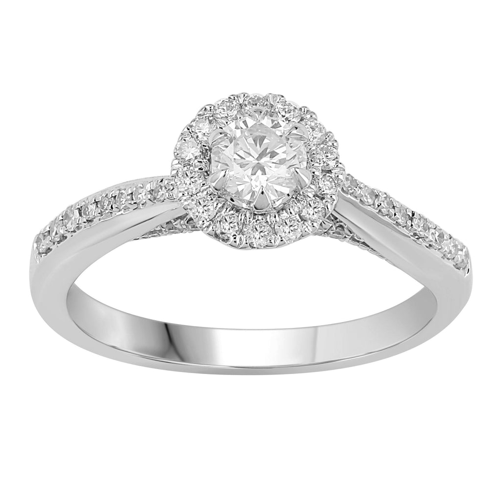 Brilliant Halo Ring with 0.60ct of Diamonds in 18ct White Gold Rings Bevilles